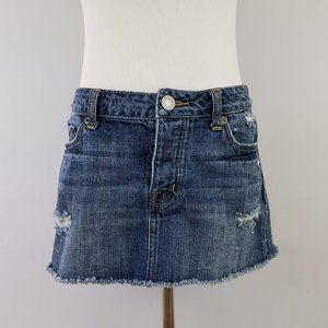 AEO Destroyed Raw Hem Mini Jean Skirt Size 4